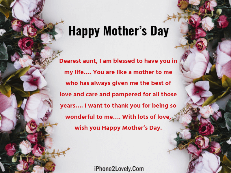 15 Mother\'s Day Wishes and Quotes for Aunts 2019 - iPhone2Lovely